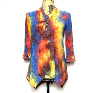New Directions Tie Dye Pleated Asymmetrical Blouse